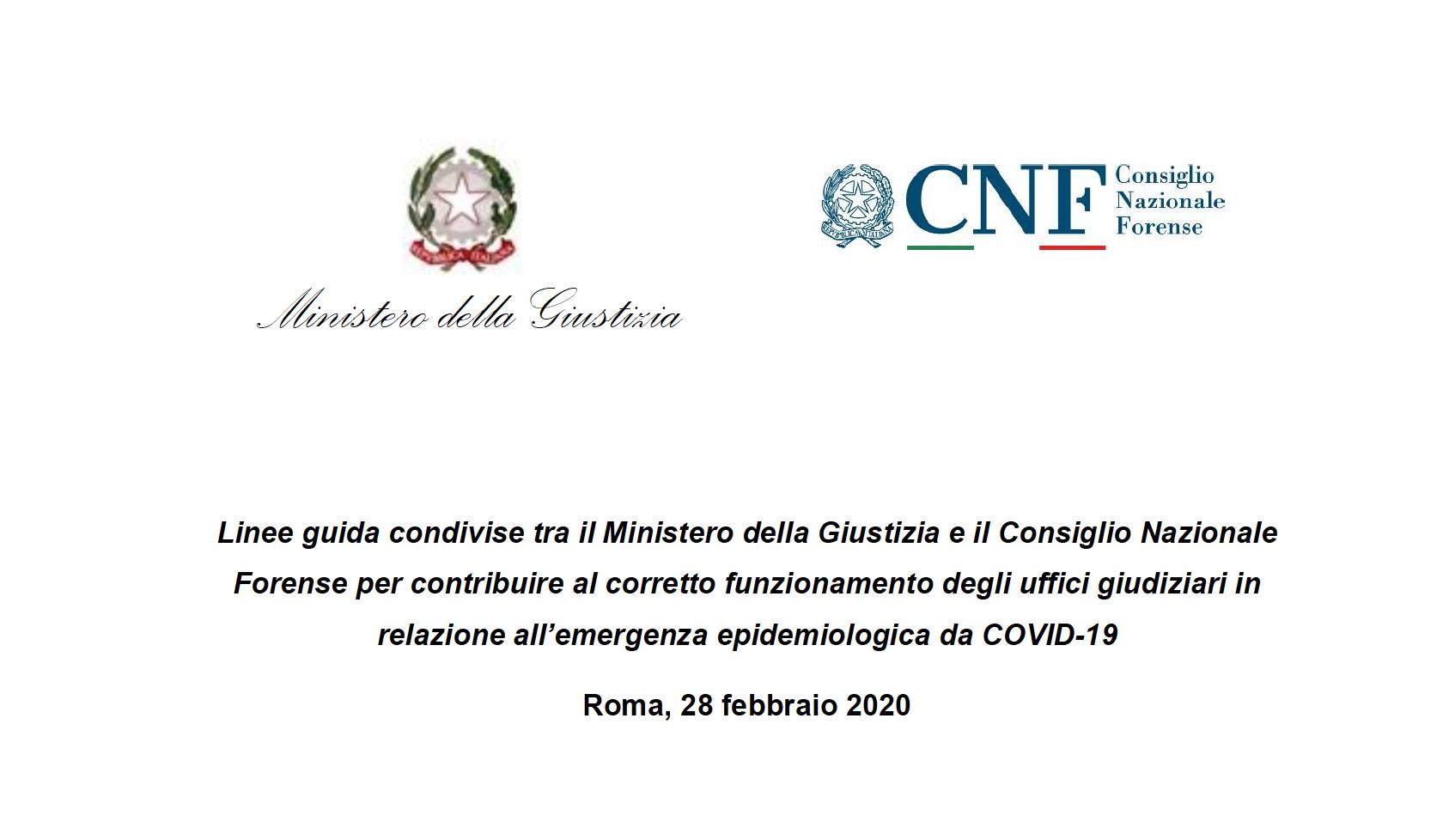Coronavirus: Ministero e Cnf diramano linee guida