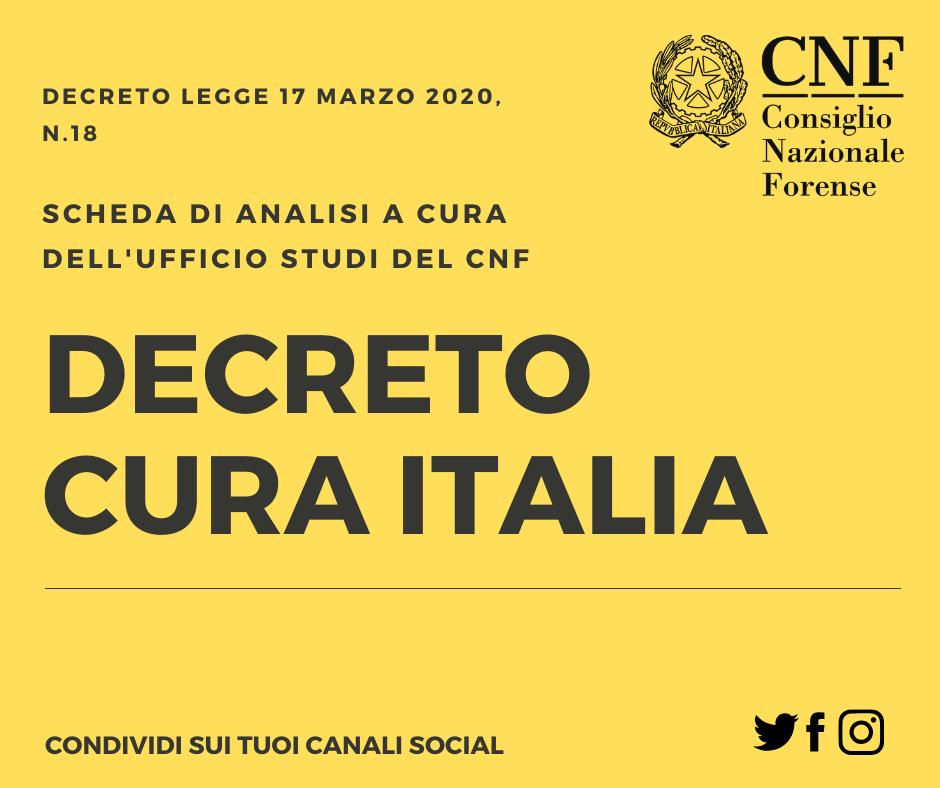 Dl Cura Italia, scheda di analisi del CNF
